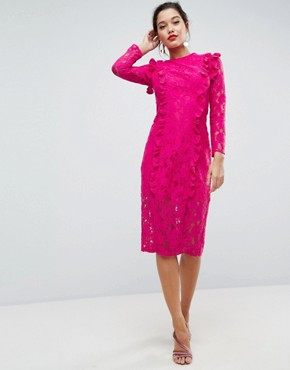 photo Lace Ruffle Midi Column Dress by ASOS, color Hot Pink - Image 1