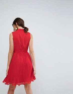 photo Sleeveless Lace Insert Pleated Mini Dress by ASOS, color Red - Image 2