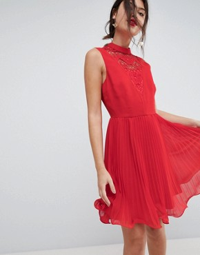 photo Sleeveless Lace Insert Pleated Mini Dress by ASOS, color Red - Image 1