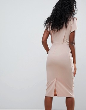 photo Split Cap Sleeve Midi Dress with Circle Belt by ASOS, color Champagne - Image 2