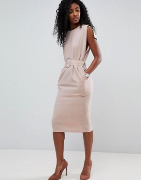 photo Split Cap Sleeve Midi Dress with Circle Belt by ASOS, color Champagne - Image 4