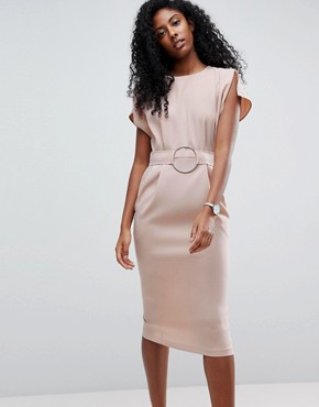 photo Split Cap Sleeve Midi Dress with Circle Belt by ASOS, color Champagne - Image 1