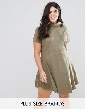 photo Faux Suede Swing Dress by AX Paris Plus, color Green - Image 1