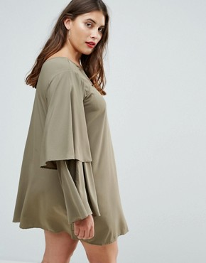 photo Tiered Sleeve Dress by AX Paris Plus, color Khaki - Image 2