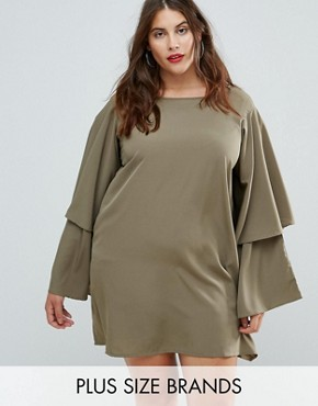 photo Tiered Sleeve Dress by AX Paris Plus, color Khaki - Image 1