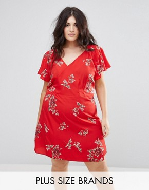 photo Floral Wrap Dress by AX Paris Plus, color Red - Image 1