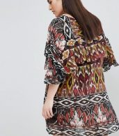photo Floral Shift Dress with Ruffle Panel by AX Paris Plus, color Multi - Image 2