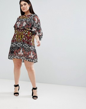 photo Floral Shift Dress with Ruffle Panel by AX Paris Plus, color Multi - Image 4