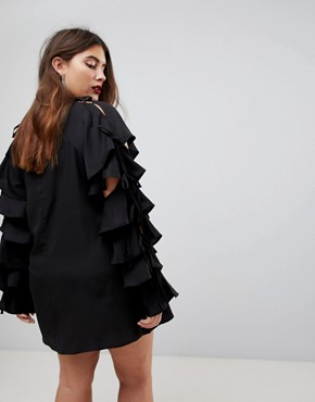 photo Tie Sleeve Ruffle Sleeve Dress by AX Paris Plus, color Black - Image 2