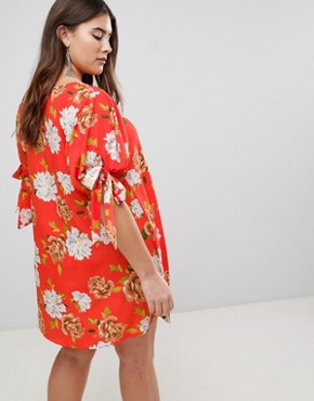 photo Floral Tie Sleeve Shift Dress by AX Paris Plus, color Red Based Floral - Image 2