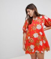 photo Floral Tie Sleeve Shift Dress by AX Paris Plus, color Red Based Floral - Image 1