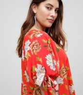 photo Floral Tie Sleeve Shift Dress by AX Paris Plus, color Red Based Floral - Image 3