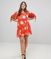 photo Floral Tie Sleeve Shift Dress by AX Paris Plus, color Red Based Floral - Image 4