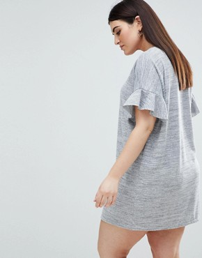 photo Ruffle Sleeve T-Shirt Dress by AX Paris Plus, color Dark Grey - Image 2