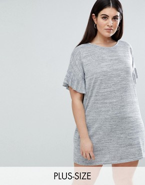 photo Ruffle Sleeve T-Shirt Dress by AX Paris Plus, color Dark Grey - Image 1