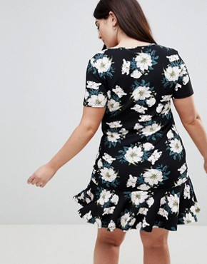 photo Scuba Peplum Hem T-Shirt Dress by AX Paris Plus, color Black Base Floral - Image 2