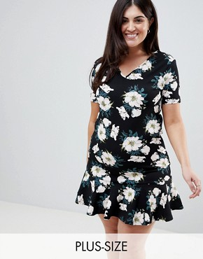 photo Scuba Peplum Hem T-Shirt Dress by AX Paris Plus, color Black Base Floral - Image 1