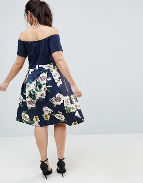 photo Scuba 2-In-1 Floral Skirt Dress by AX Paris Plus, color Navy With Print - Image 2