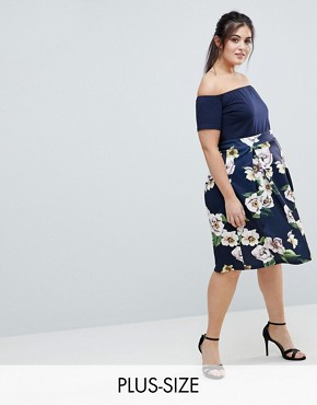 photo Scuba 2-In-1 Floral Skirt Dress by AX Paris Plus, color Navy With Print - Image 1