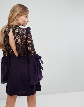 photo Lace Mini Dress with Bow Sleeve Detail by True Decadence Premium, color Plum - Image 2