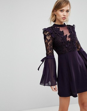 photo Lace Mini Dress with Bow Sleeve Detail by True Decadence Premium, color Plum - Image 1