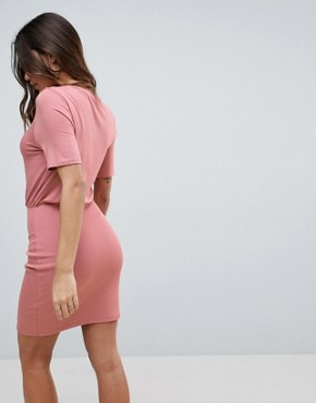 photo Mini Dress with Rib Skirt and Corset Waist by ASOS, color Nude - Image 2