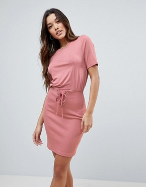 photo Mini Dress with Rib Skirt and Corset Waist by ASOS, color Nude - Image 1
