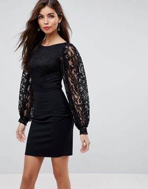 photo Mini Dress with Lace Top and Slash Neck by ASOS, color Black - Image 1