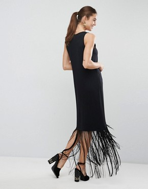 photo Maxi Dress with Fringe Detail by ASOS, color Black - Image 2