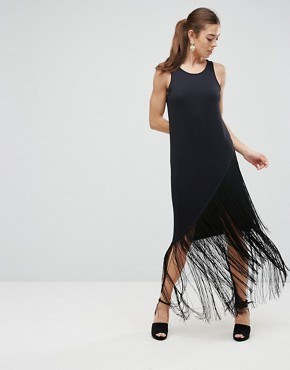 photo Maxi Dress with Fringe Detail by ASOS, color Black - Image 1