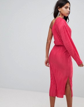 photo One Shoulder Midi Dress with Balloon Sleeve in Plisse by ASOS, color Hot Pink - Image 2