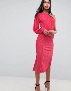 photo One Shoulder Midi Dress with Balloon Sleeve in Plisse by ASOS, color Hot Pink - Image 1