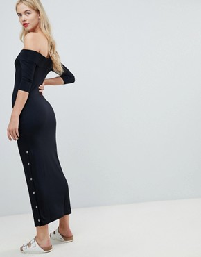 photo Off Shoulder Maxi Dress with Popper Detail by ASOS, color Black - Image 2