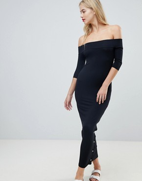 photo Off Shoulder Maxi Dress with Popper Detail by ASOS, color Black - Image 1