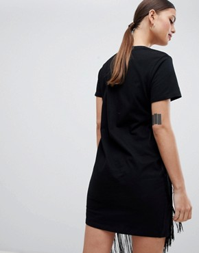 photo Mini T-Shirt Dress with Fringe Detail by ASOS, color Black - Image 2