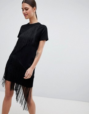 photo Mini T-Shirt Dress with Fringe Detail by ASOS, color Black - Image 1
