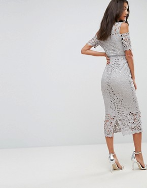 photo Cutwork Lace Cold Shoulder Maxi Dress by True Decadence Tall Premium, color Grey - Image 2