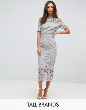 photo Cutwork Lace Cold Shoulder Maxi Dress by True Decadence Tall Premium, color Grey - Image 1