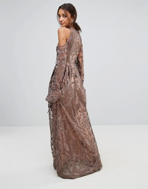 photo Cold Shoulder Premium Embroidered Maxi Dress by True Decadence Tall, color Grey - Image 2