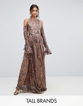 photo Cold Shoulder Premium Embroidered Maxi Dress by True Decadence Tall, color Grey - Image 1