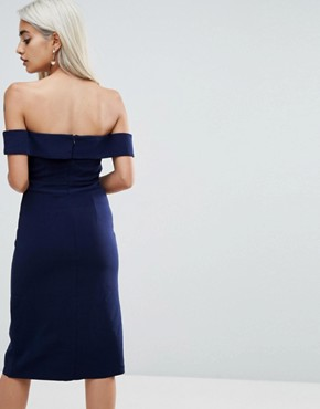 photo Bardot Scuba Pencil Dress with Knot Front Detail by True Decadence Petite Premium, color Navy - Image 2