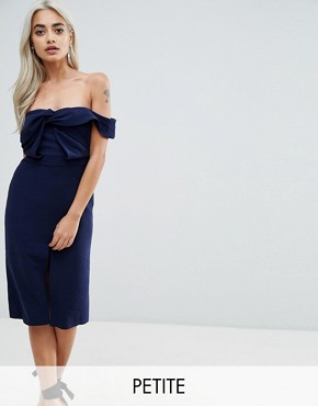 photo Bardot Scuba Pencil Dress with Knot Front Detail by True Decadence Petite Premium, color Navy - Image 1