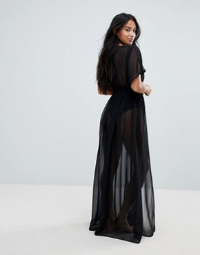 photo Shirred Waist Maxi Chiffon Beach Kaftan by ASOS PETITE, color Black - Image 2