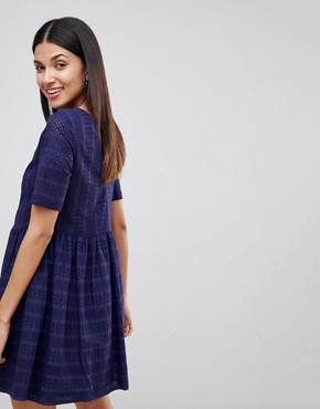 photo Mini Smock Dress in Broderie by ASOS TALL, color Navy - Image 2