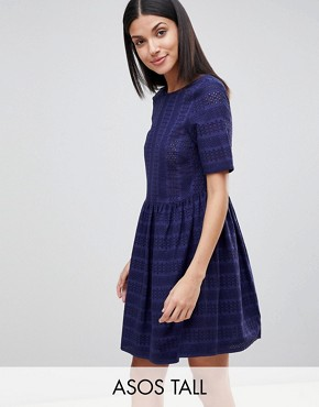 photo Mini Smock Dress in Broderie by ASOS TALL, color Navy - Image 1