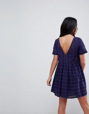 photo Mini Smock Dress in Broderie by ASOS PETITE, color Navy - Image 2