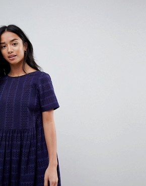 photo Mini Smock Dress in Broderie by ASOS PETITE, color Navy - Image 3