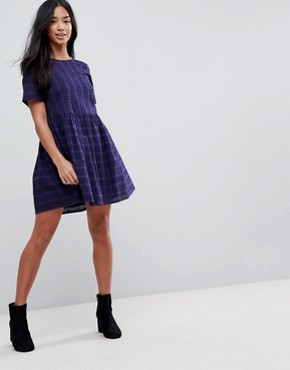 photo Mini Smock Dress in Broderie by ASOS PETITE, color Navy - Image 4