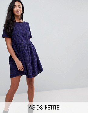 photo Mini Smock Dress in Broderie by ASOS PETITE, color Navy - Image 1