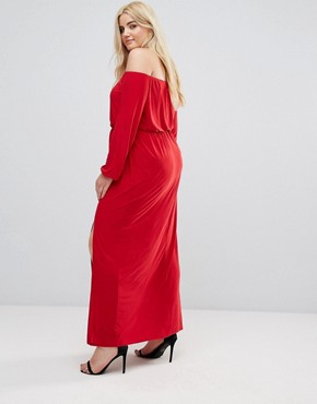 photo Bardot Maxi Dress with Split by Club L Plus, color Red - Image 2